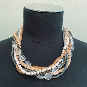 LOFT Multi-Strand Wood & Stone Bead Necklace